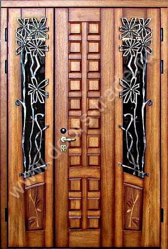 элитные двухстворчатые металлические входные двери